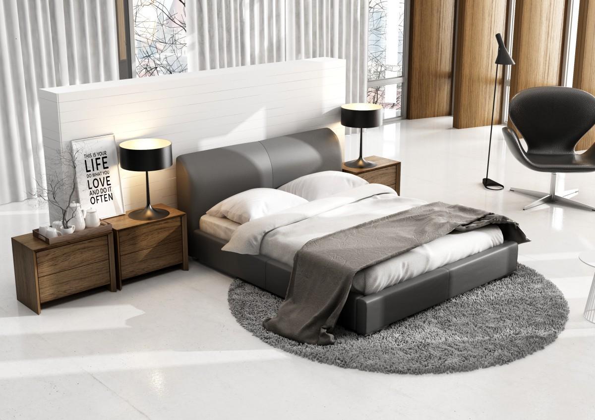 łóżko Tapicerowane W Kolorze Szarym Główny Element